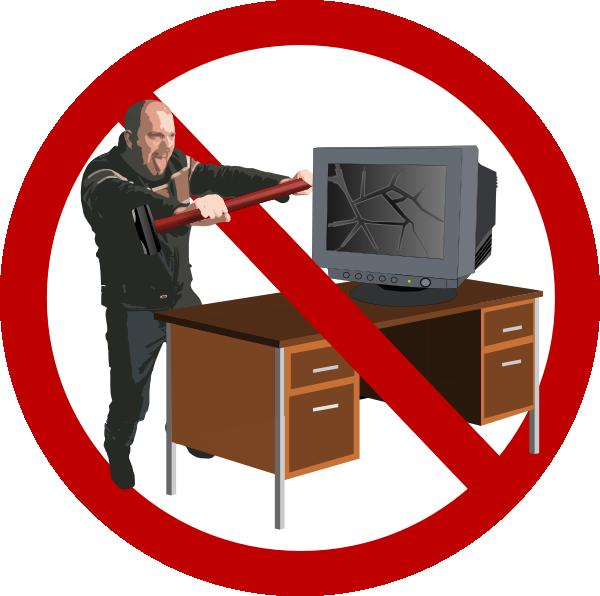 Pc clipart broken computer. Stop rage clip art