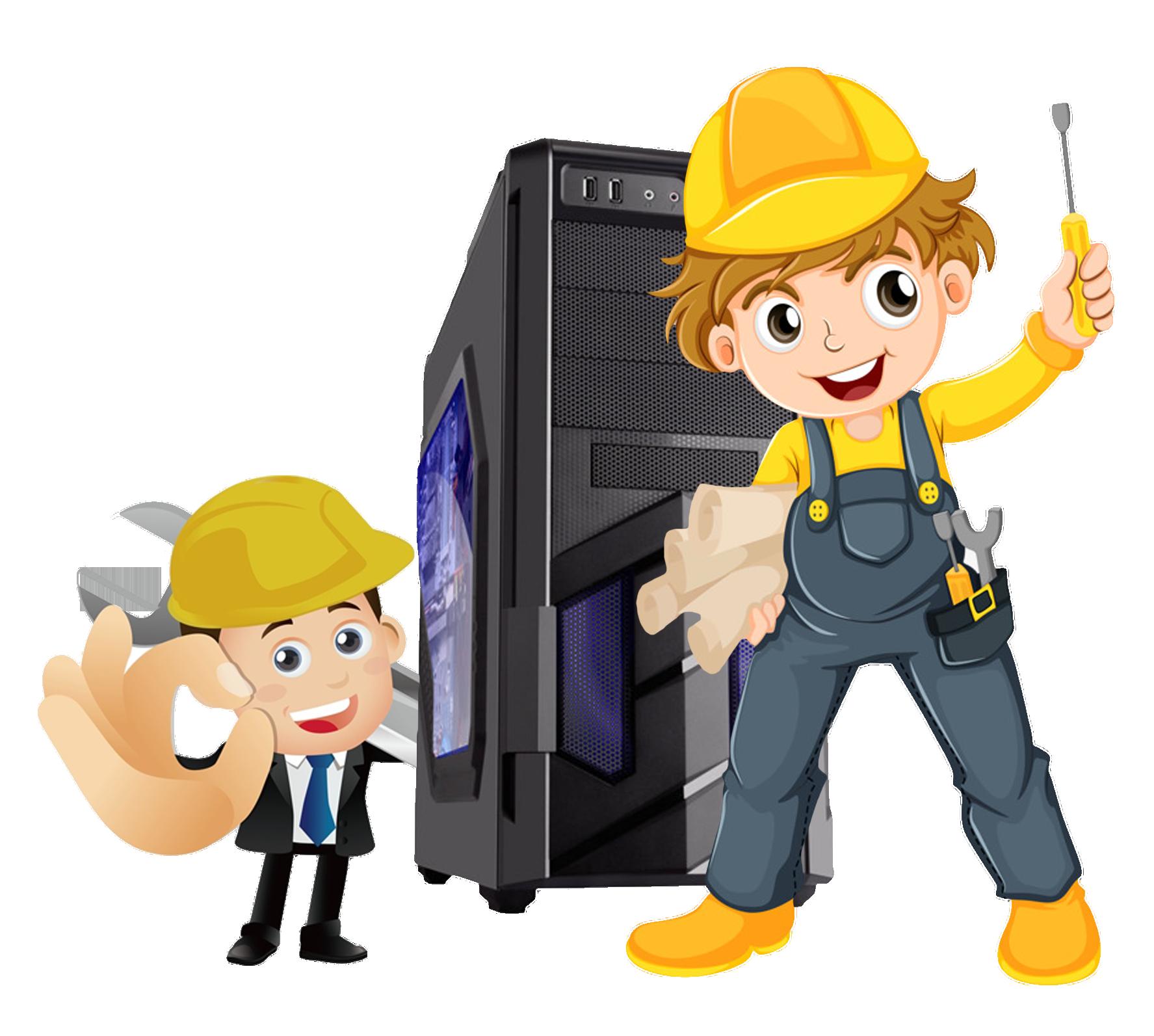 Laptop cartoon file maintenance. Computer clipart character