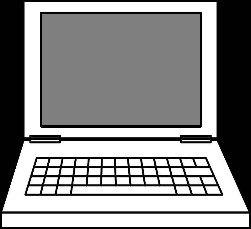 Laptop medium image png. Computer clipart outline