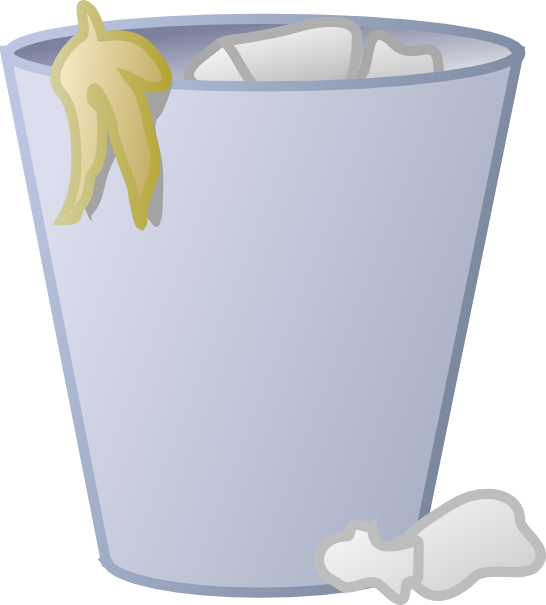 Full trash can clip. Outline clipart bin