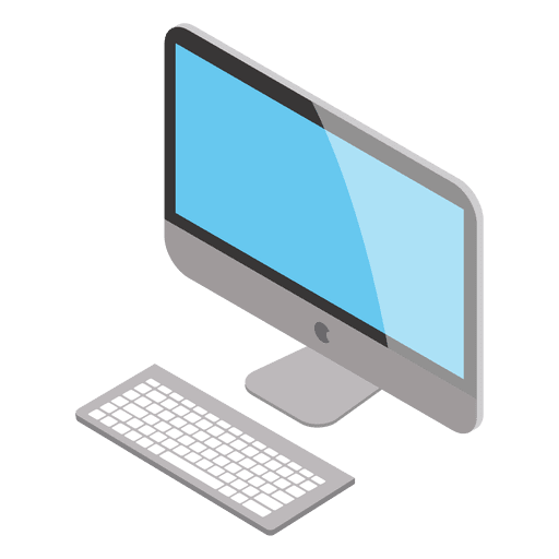 Isometric mac transparent svg. Computer vector png