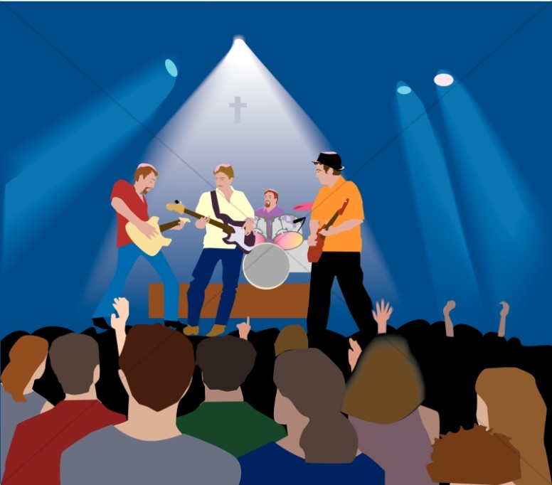 Christian rock with lighting. Concert clipart
