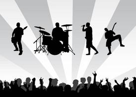 Concert clipart. Free band background and