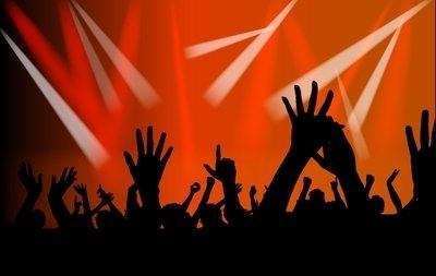 Free concert crowds raising. Crowd clipart hands