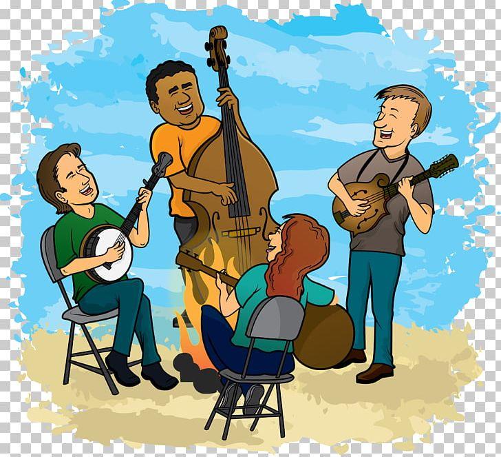 Jam session bluegrass band. Musician clipart classic music