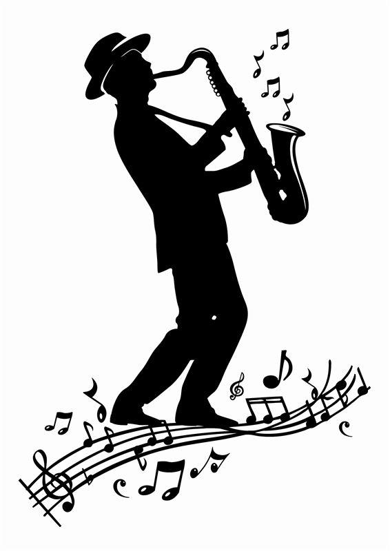 Jazz clipart solo. Saxaphone player saxophone silhouette
