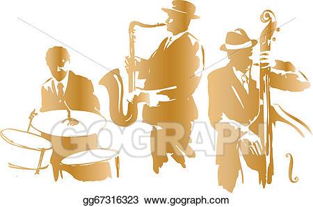 Jazz clipart jazz trio. Vector illustration stock clip