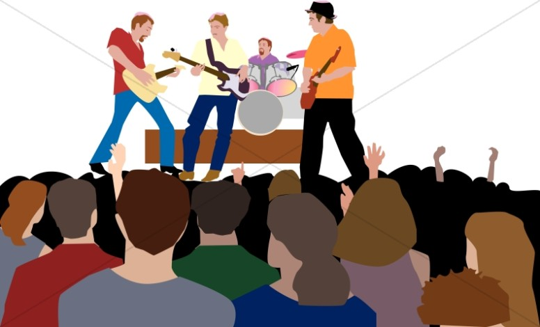 Concert clipart. Youth rock worship