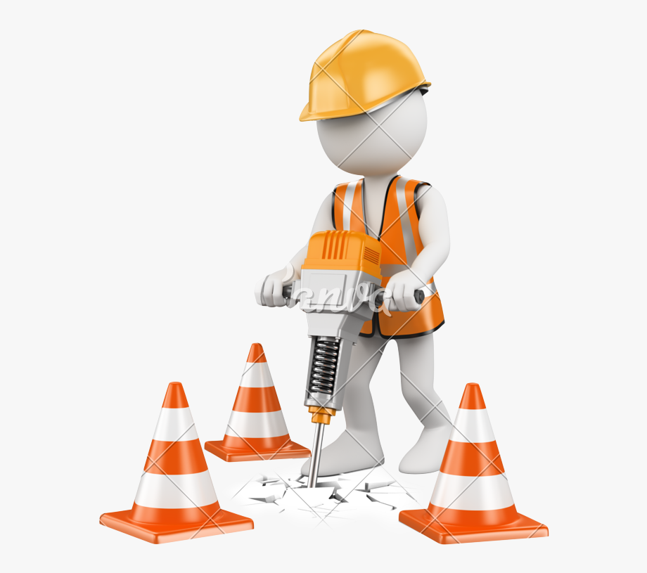 Drill clipart man. Cone construction worker tool