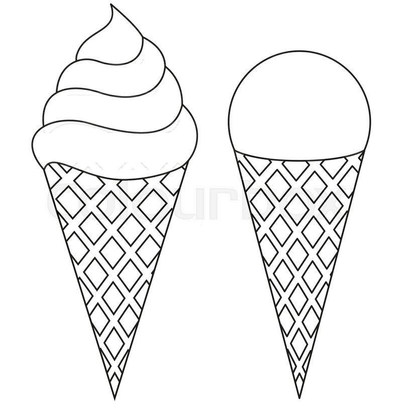 Ice cream black and. Cone clipart drawing