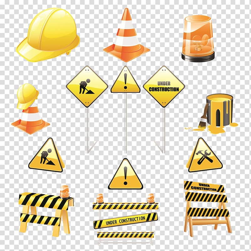 Illustration of hard hat. Cone clipart highway construction