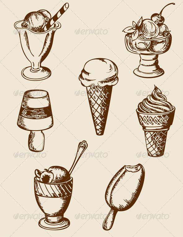 Ice cream draw . Icecream clipart vintage