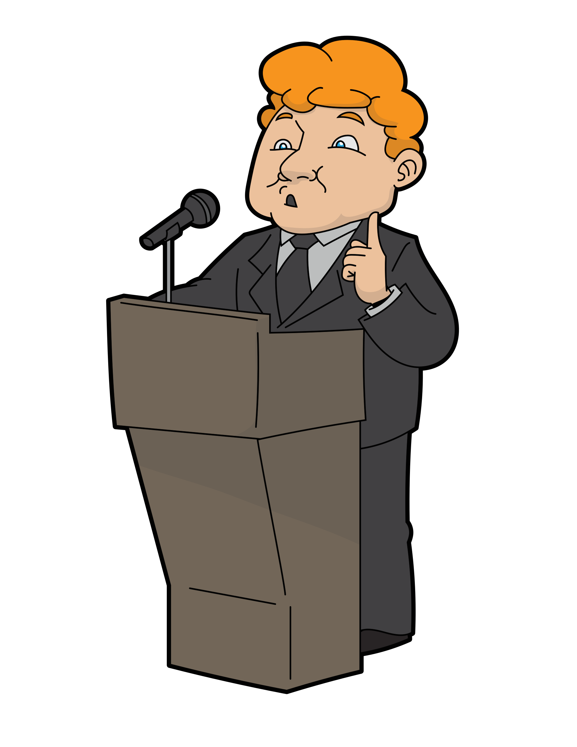 File cartoon man speaking. Conference clipart business policy