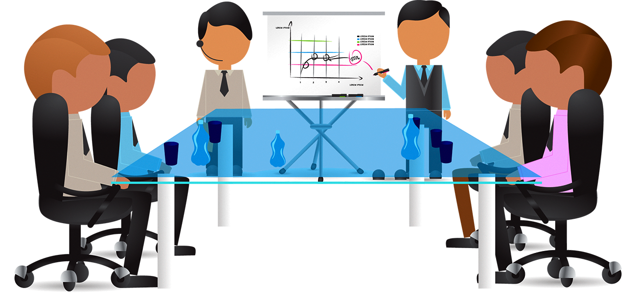 Cartoon illustration transprent png. Conference clipart customer meeting