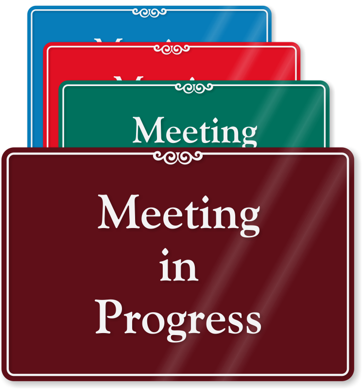 Conference clipart office meeting. Room signs meting sliders