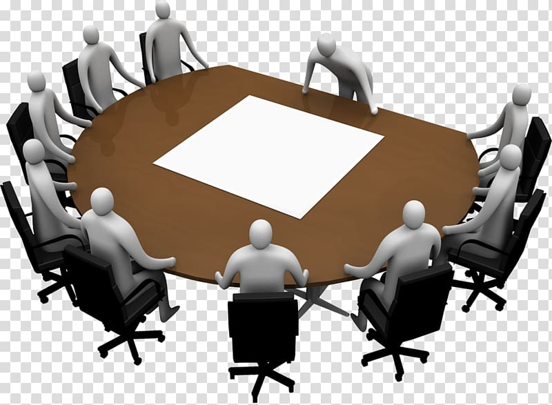 Planning clipart chairman. Brown table surrounded by