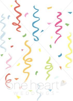 Colorful wedding decorations. Confetti clipart