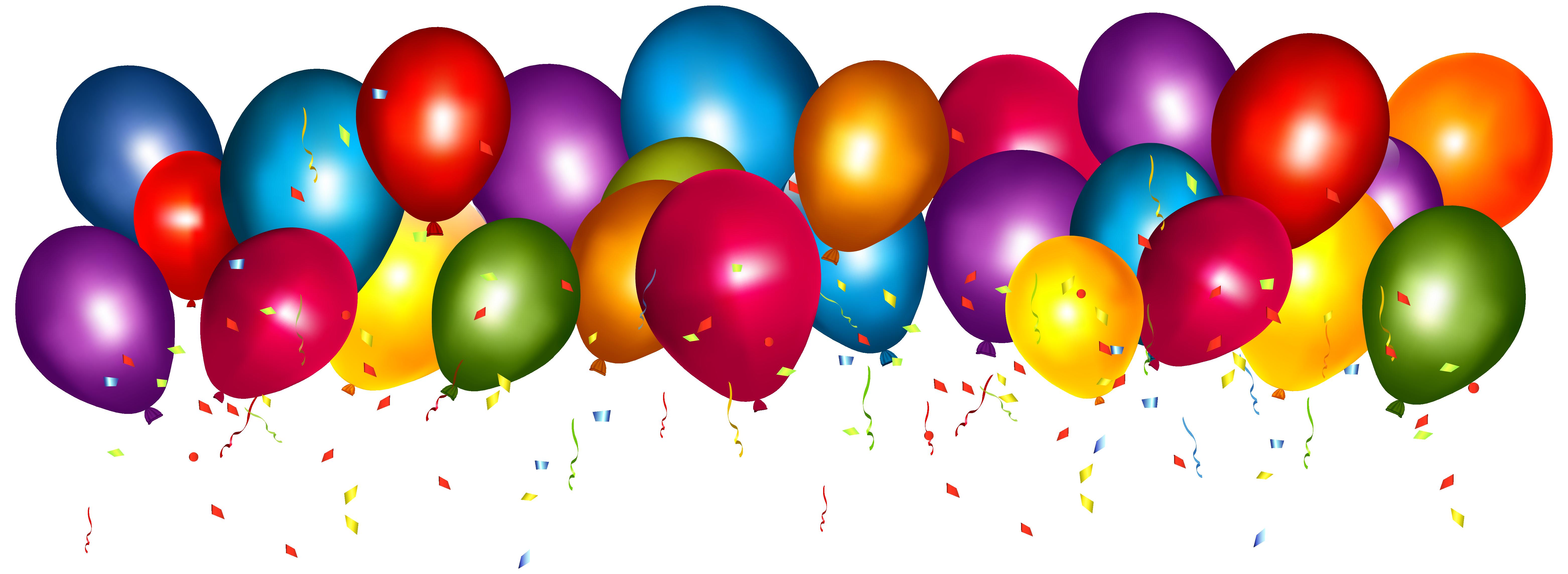 Confetti clipart balloon confetti. Transparent colorful balloons with