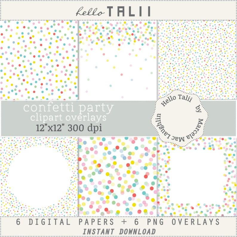 Confetti clipart big. Polka dots overlays pastel