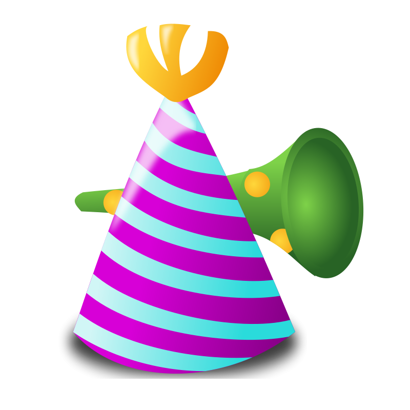 Horn clipart noisemaker. Group hat new year