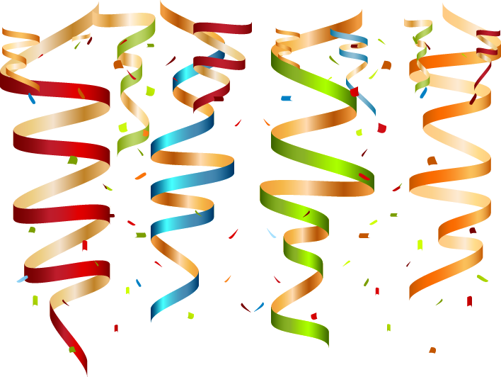 Confetti clipart colored. Birthday cake greeting card