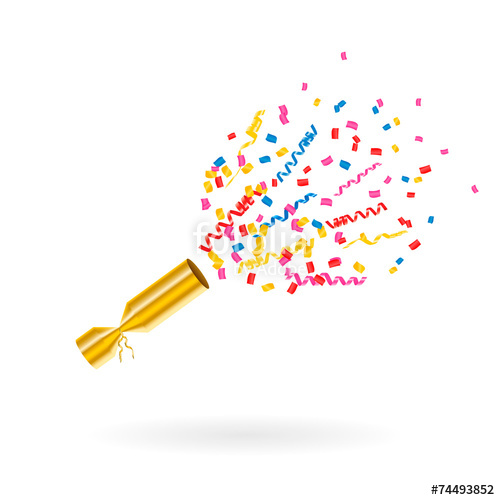 Streamers clipart party popper. With confetti and vector
