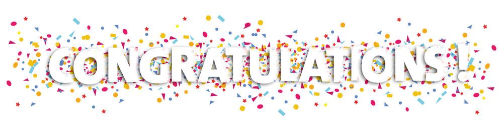 Congratulations text and illustration. Confetti clipart congratulation