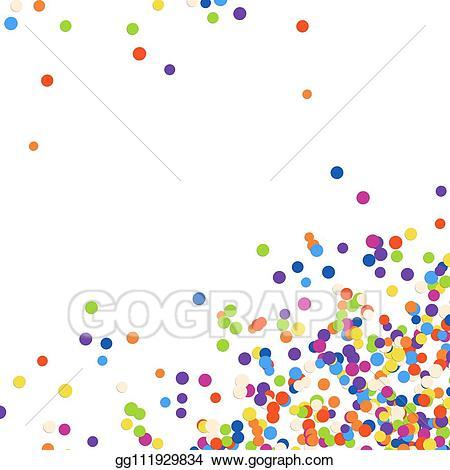 Confetti clipart corner. Vector illustration background bottom