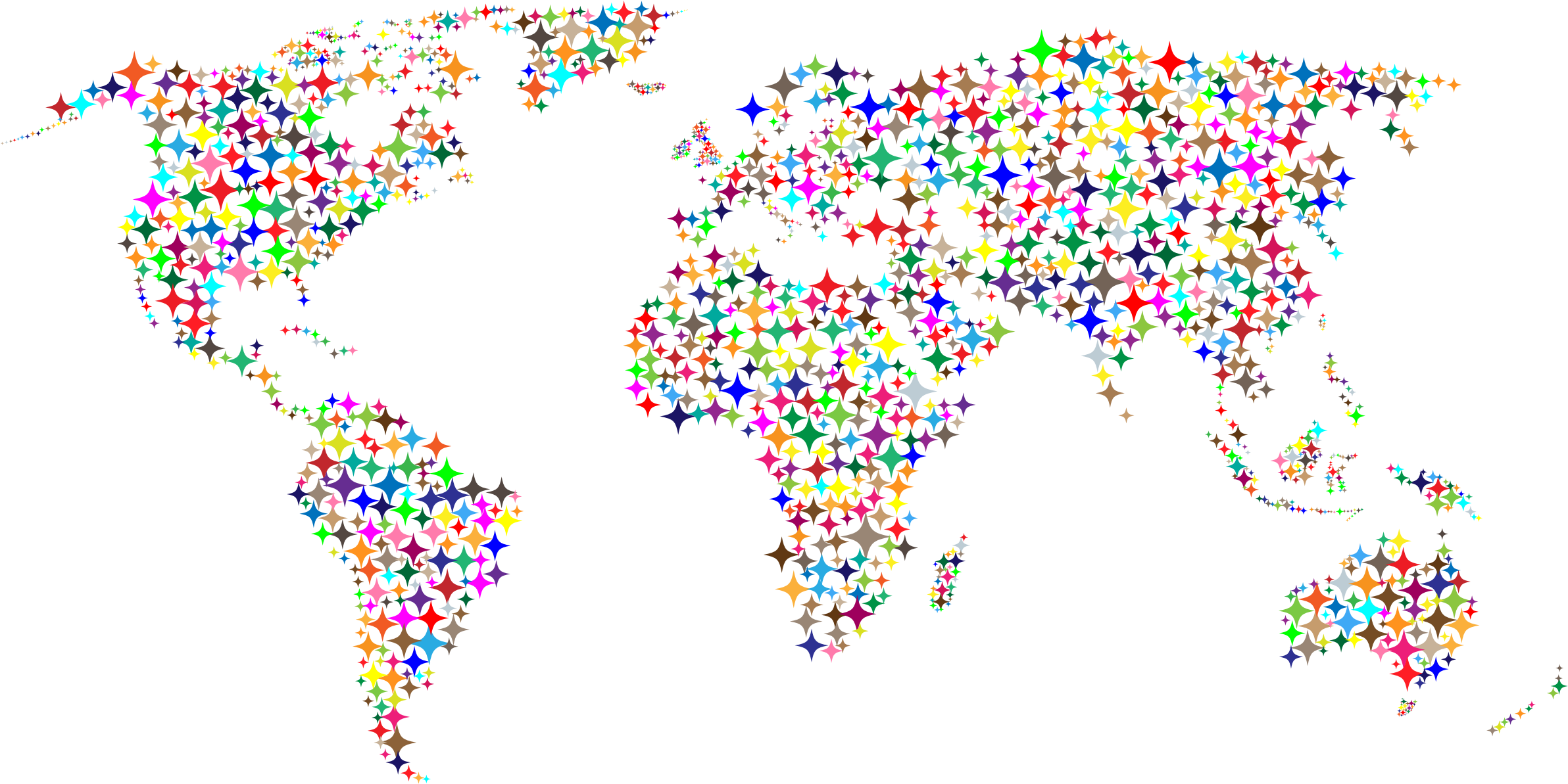 Colorful world map icons. Diamonds clipart coloured