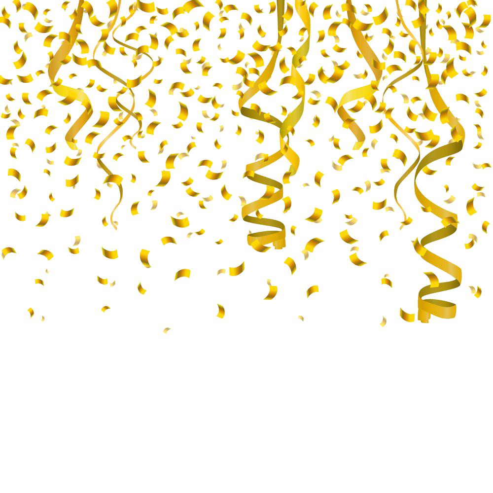 Interior design services clip. Gold confetti border png