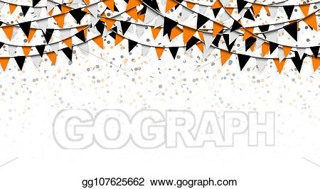 Confetti clipart halloween. Vector illustration and garlands