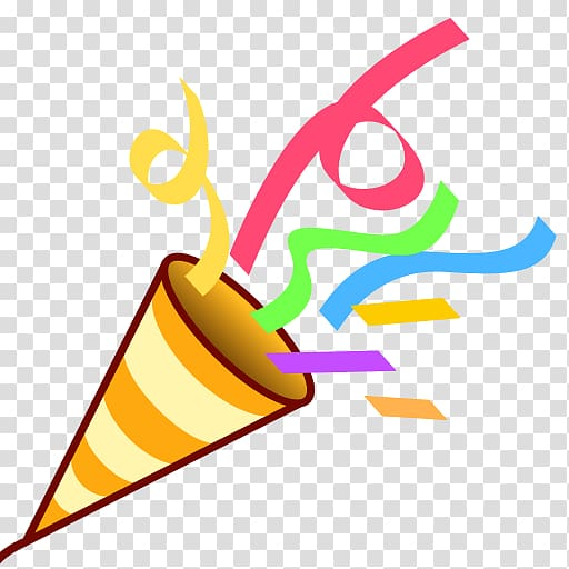 Cone with confetti art. Horn clipart celebration
