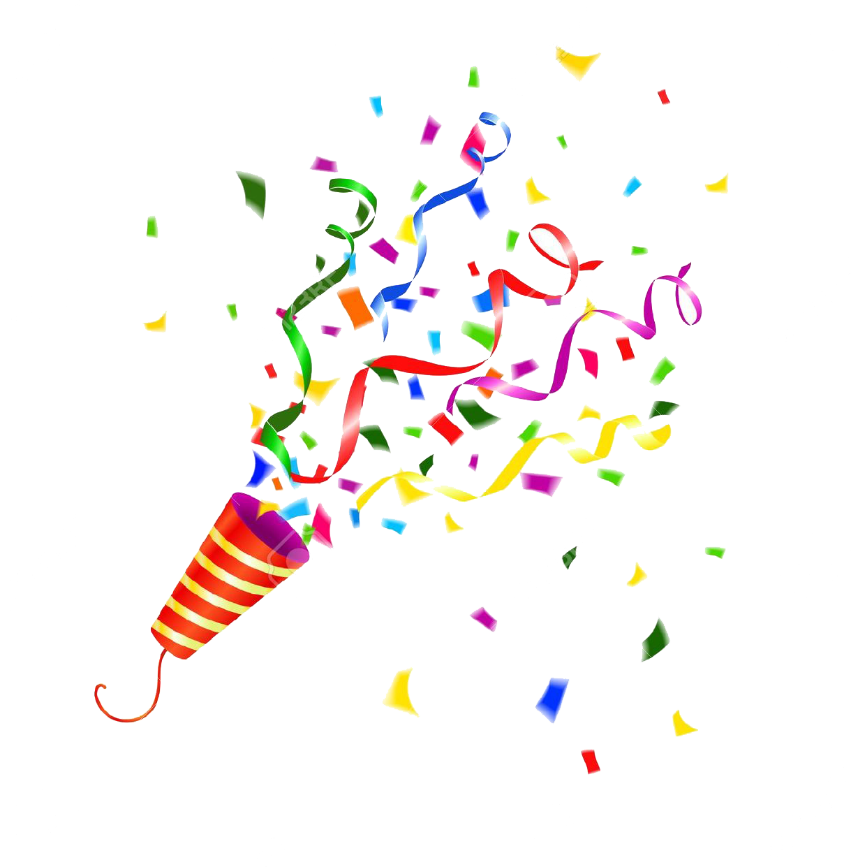Party popper stock photography. Streamers clipart confetti explosion