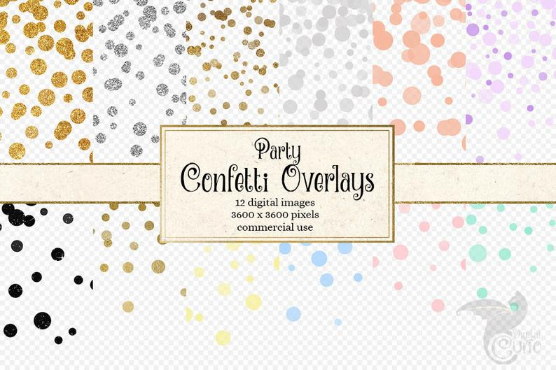 Confetti clipart pastel. Party overlays and gold