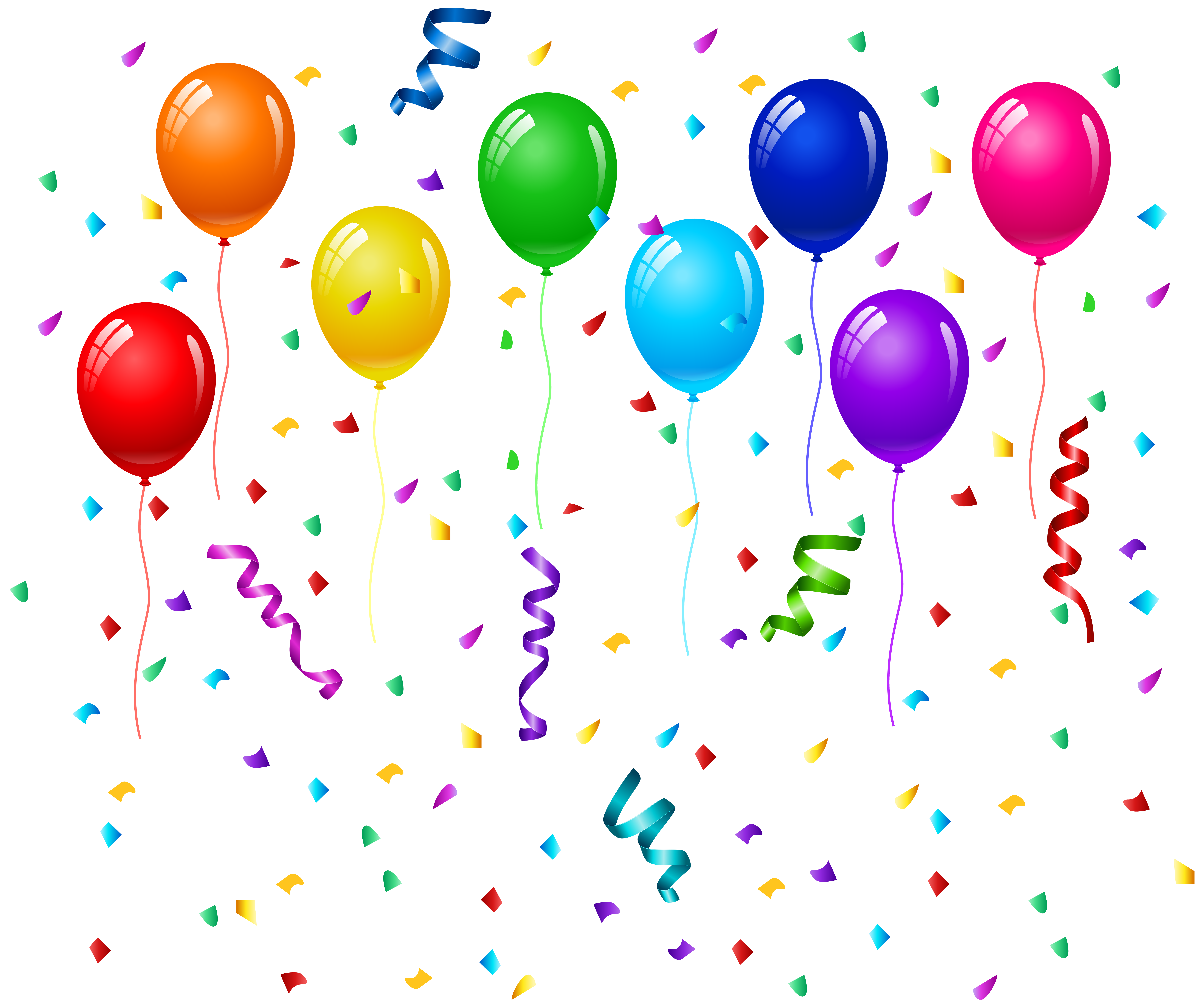 Confetti clipart pixel. And balloons png clip