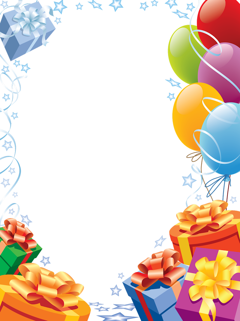 Happy birthday transparent frame. Confetti clipart trumpet