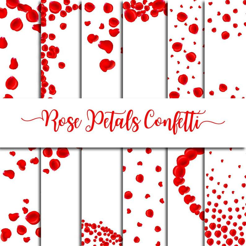 Confetti clipart valentines. Red rose petals overlay