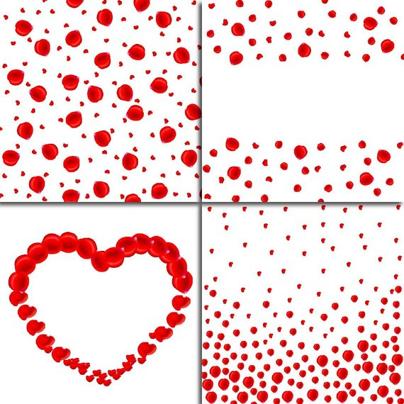 Red rose petals overlay. Confetti clipart valentines