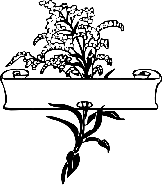 Scroll with flower spray. Decorative clipart scrolling
