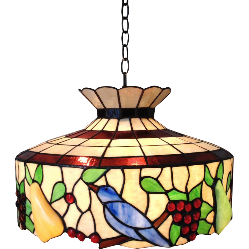Lamp clipart lighting fixture. Large stained glass chandelier