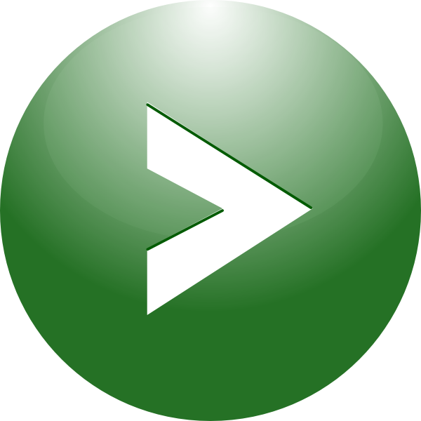 Play green button arrow. Confirmation clipart verified