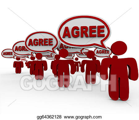 Agree word speech bubbles. Conflict clipart agreement