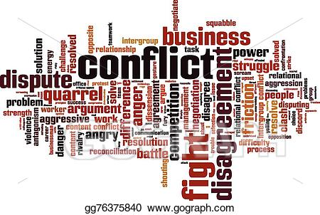 Conflict clipart intergroup conflict. Vector illustration word cloud