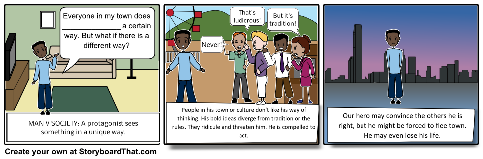 Teaching the four types. Conflict clipart internal struggle