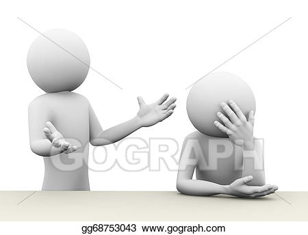 Stock illustration d concept. Conflict clipart person