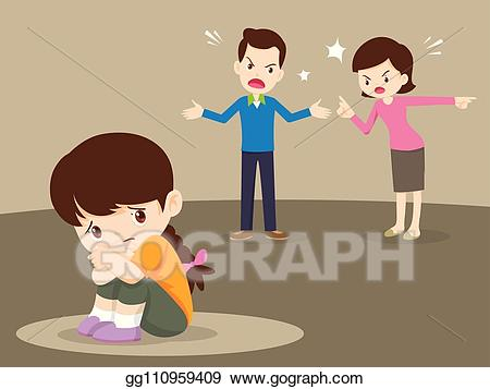 Vector stock angry family. Parents clipart quarrel