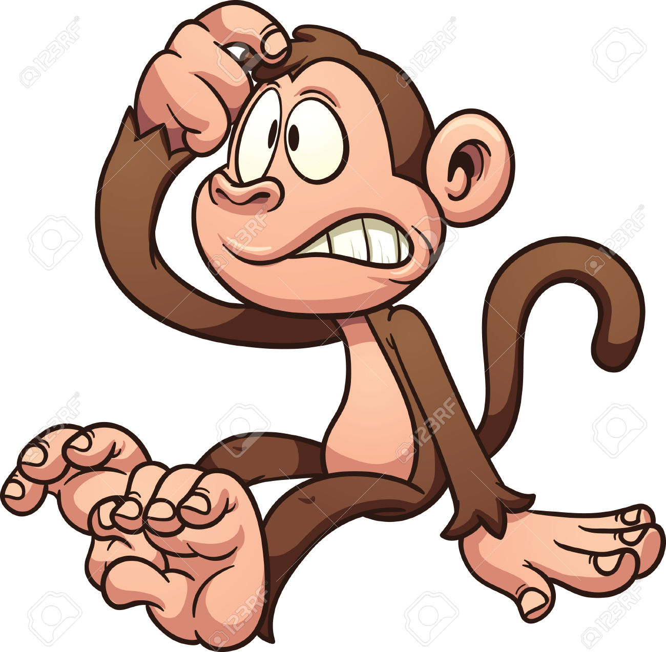 Monkey . Confused clipart