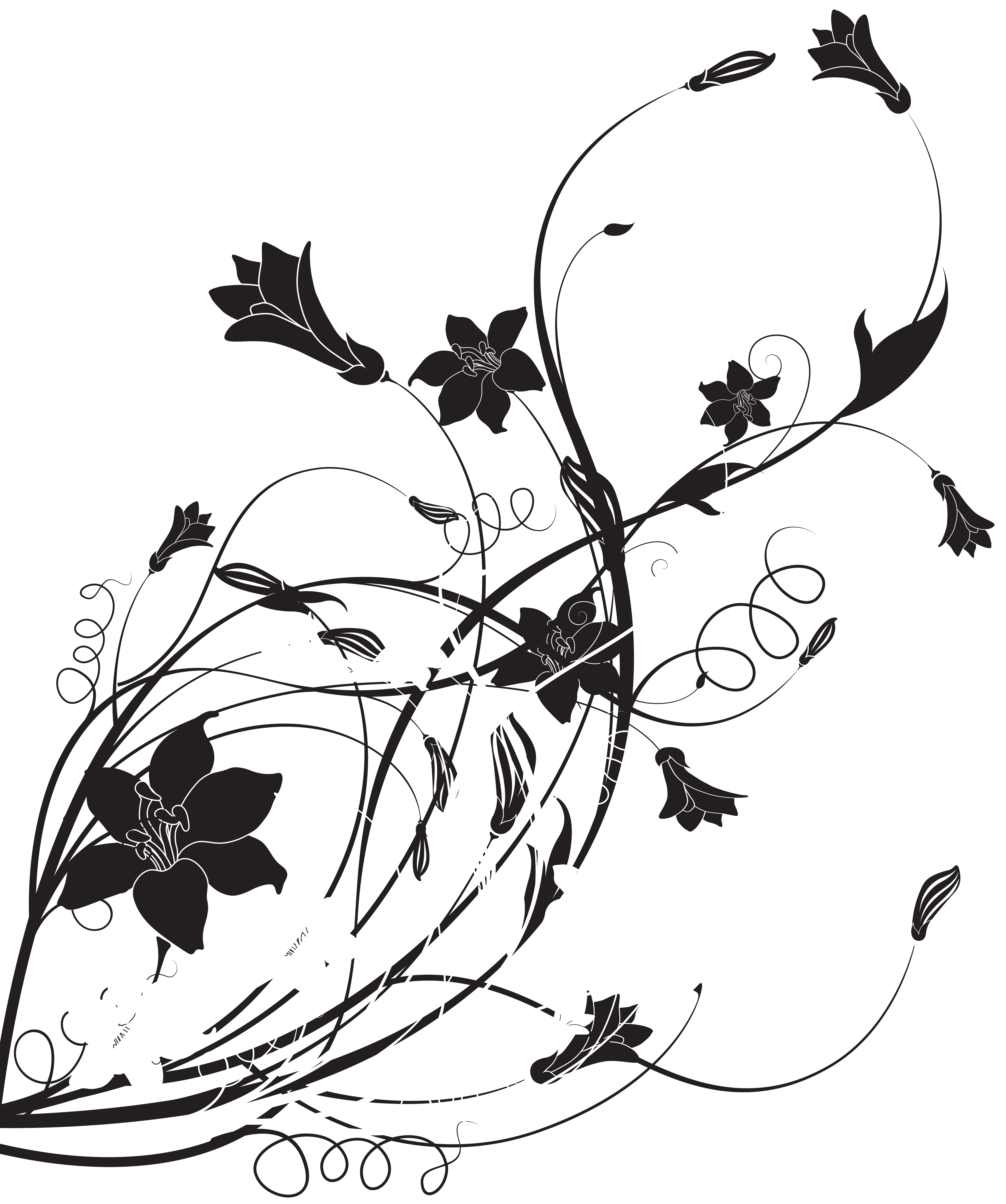 Floral decoration png clip. Movies clipart black and white