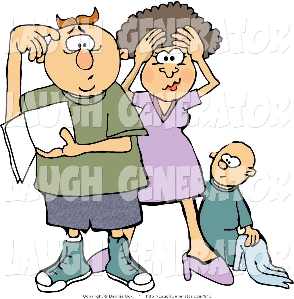Royalty free stock humor. Confused clipart frustrated parent
