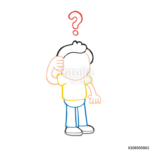 Vector hand drawn cartoon. Confused clipart human thinking